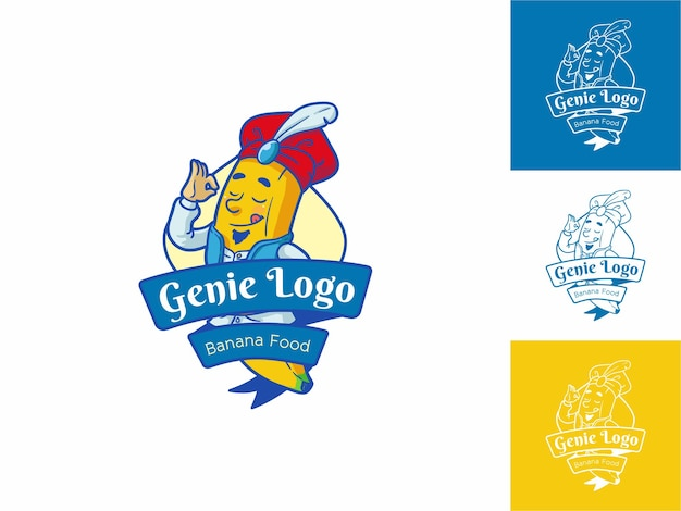 Genie food logo flat outline cartoon style, fresh yellow, fruit & food concept isolated.