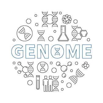 Genom okrągły ilustracja w stylu cienkich linii