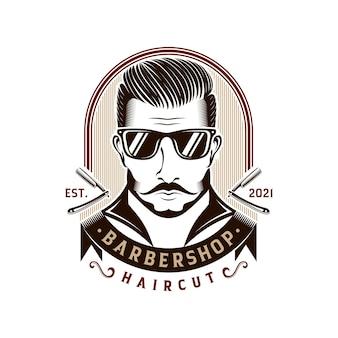 Gentleman barber shop vintage logo design