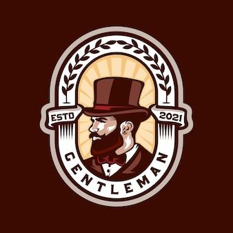 Gentleman vintage retro barbershop logo