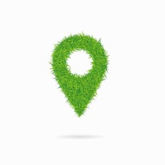 Geo pin składający się z zielonej trawy