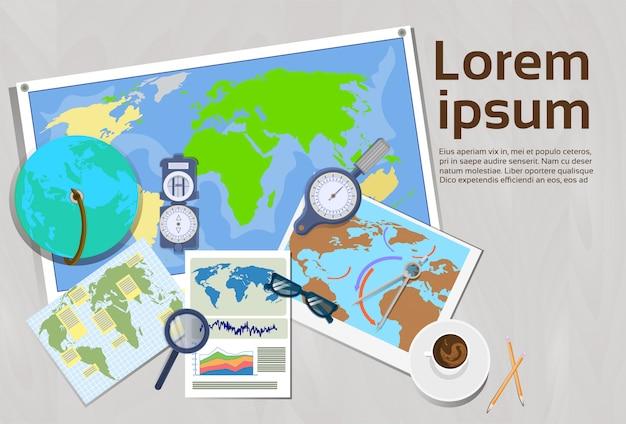 Geografia i koncepcja kartografii top kąt widzenia banner szablonu miejsca pracy z miejsca na kopię