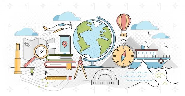 Geografia zarys koncepcji ilustracji wektorowych.