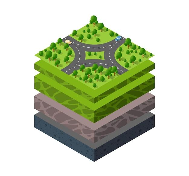 Geologiczne i podziemne warstwy gleby pod izometrycznym wycinkiem naturalnego krajobrazu