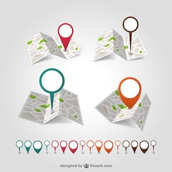 Geolokalizacja wektor zestaw map pin