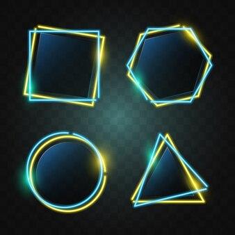 Geometria neonowy sztandar w zielonym & żółtym świetle.