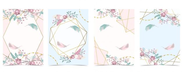 Geometria pin złota karta zaproszenie na ślub z różą, liściem, wstążką, wieńcem, piórkiem i ramką