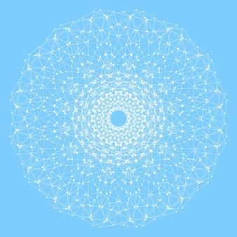 Geometryczna abstrakcyjna okrągła forma z połączoną linią i kropkami. kompozycja graficzna dla medycyny, nauki, technologii, chemii. ilustracja wektorowa.