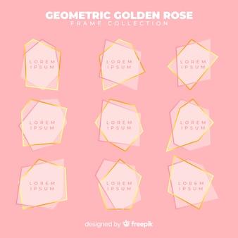 Geometryczna kolekcja złota róża ramki