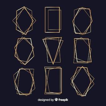 Geometryczna kolekcja złotej ramie