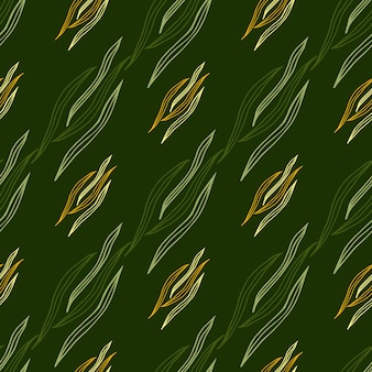 Geometryczna linia botaniczna kształtuje wzór na zielonym tle. tapeta natura.