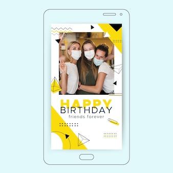Geometryczna minimalistyczna urodzinowa historia na instagramie