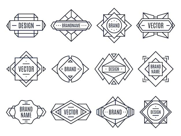 Geometryczna plakietka, minimalne trójkąty i abstrakcyjne kształty etykiety.