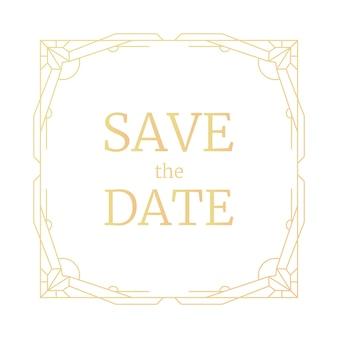 Geometryczna rama retro linia ślub zaproszenieart deco geometria wzór vintage zapisz datę