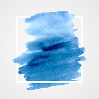 Geometryczna ramka z akwarela plamą gradientu niebieski