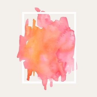Geometryczna ramka z akwarela różową plamą gradientową