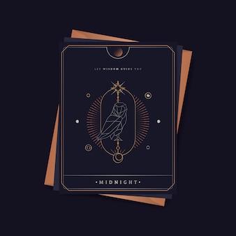 Geometryczna sowa astrologiczna tarot karta