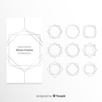 Geometryczna srebrna ramka
