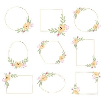 Geometryczna złota rama z dekoracyjnym żółtym kwiatem akwareli