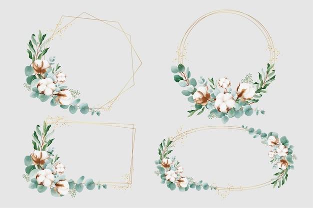 Geometryczna złota ramka z bawełnianymi kwiatami i liśćmi eukaliptusa
