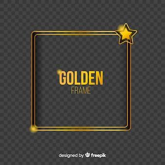 Geometryczna złota ramka z efektami świetlnymi