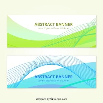 Geometryczne abstrakcyjne banner z falami