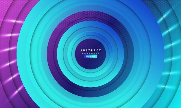 Geometryczne abstrakcyjne tło sześciokąta z niebieskim okręgiem