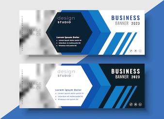 Geometryczne banery biznes niebieski zestaw z miejsca na obraz