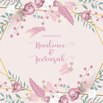 Geometryczne eleganckie zaproszenie na ślub
