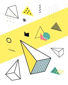 Geometryczne elementy w stylu memphis, kolorowy chaos geometryczny