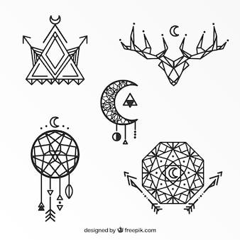 Geometryczne etniczne tatuaż kolekcji