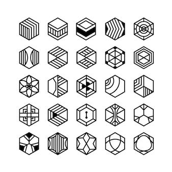 Geometryczne ikony sześciokątne