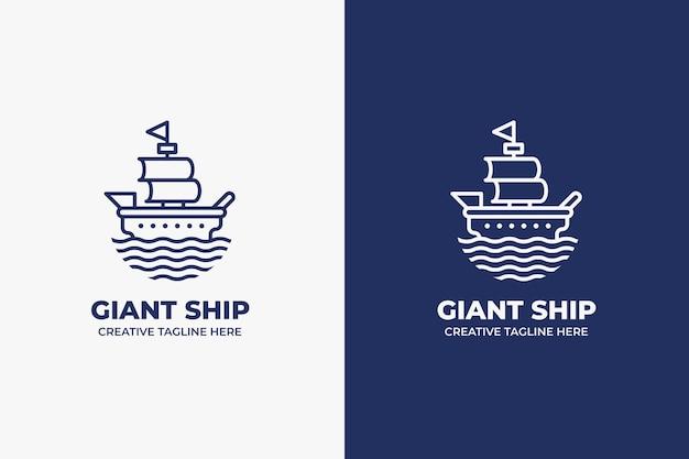 Geometryczne jednokolorowe logo gigantycznego statku