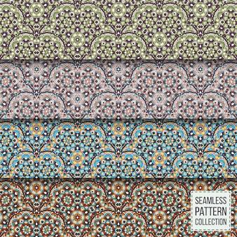 Geometryczne kolekcja wzorów bez szwu. zestaw mandali dekoracyjne tekstury tła, tapety, tło.