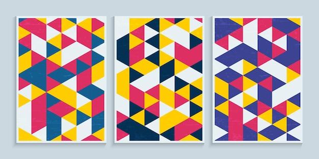 Geometryczne kolorowe trójkąty na projekt okładki plakatu