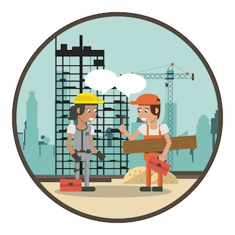 Geometryczne kreskówki pracowników