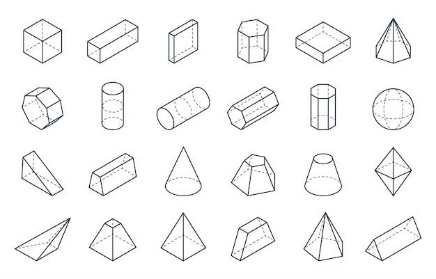 Geometryczne kształty 3d. izometryczne formy liniowe, sześciokąt stożkowy walec piramidy obiekty o niskiej wielokącie. minimalny izometryczny