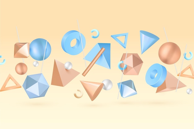 Geometryczne kształty 3d pływające tło