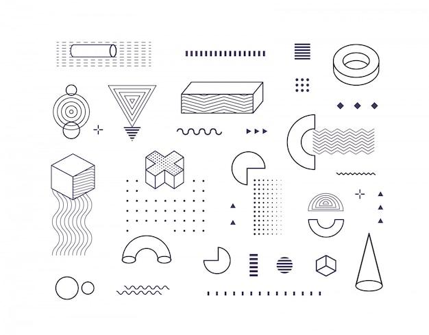 Geometryczne kształty czarno-biały kontur. elementy geometryczne styl memphis.