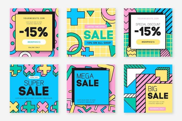 Geometryczne kształty sprzedaży post na instagramie