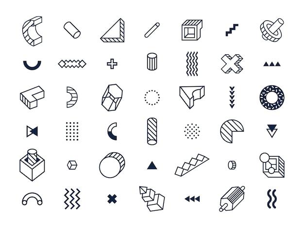 Geometryczne kształty w stylu memphis.