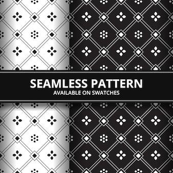 Geometryczne kwiaty batik bezszwowe tło wzór tapety w czerni i bieli