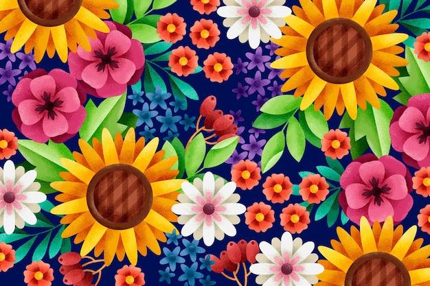 Geometryczne kwiaty i liście z efektem ziarna