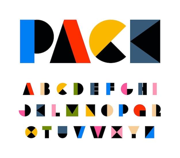 Geometryczne litery alfabetu w kolorze tęczy na festiwalowe kształty prymitywne karnawałowe czcionki urodzinowe