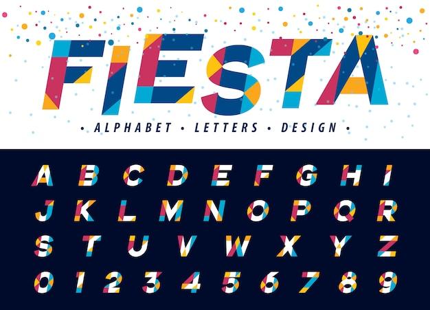 Geometryczne litery i cyfry alfabetu, nowoczesne kolorowe litery trójkąta