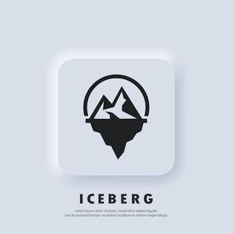 Geometryczne logo góry lodowej. ikona góry lodowej. wektor. ikona interfejsu użytkownika. śnieżna góra w oceanie. streszczenie górski szczyt lodu. biały przycisk sieciowy interfejsu użytkownika neumorphic ui ux. styl neumorfizmu.