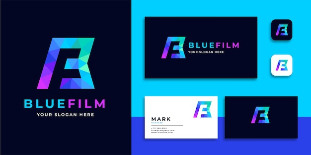 Geometryczne logo litery bf w nowoczesnym kolorowym