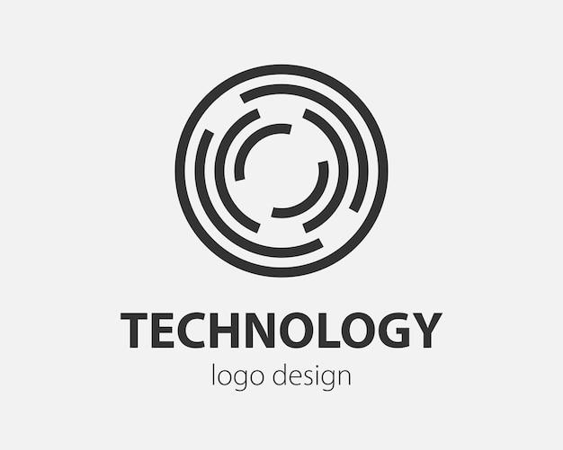 Geometryczne logo wektorowe w okręgu. logotyp w stylu high-tech dla nanotechnologii, kryptowalut i aplikacji mobilnych w prostej, liniowej konstrukcji.