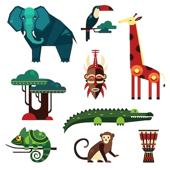 Geometryczne płaskie afrykańskie zwierzęta i rośliny