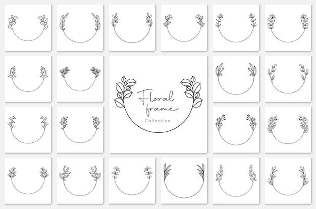 Geometryczne ramki kwiatowe, obramowania, wieńce ślubne, szczegółowe ilustracje dekoracyjne.